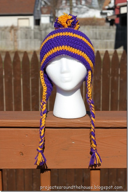 Crochet Men's Striped Earflap Hat Pattern