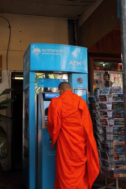 It is not every day that you see a Monk operating an ATM
