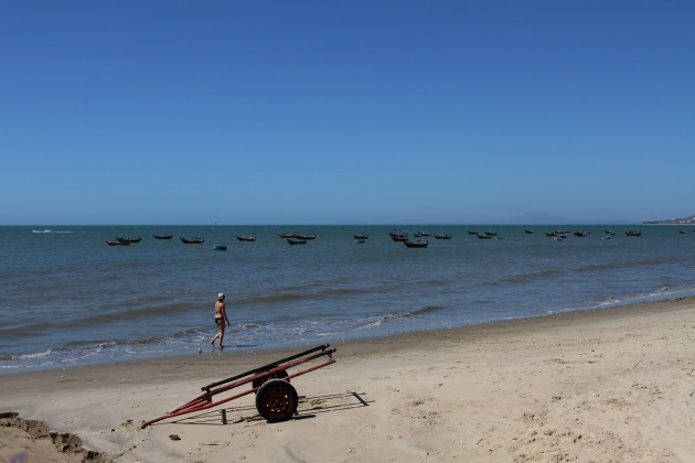 Line of Boats at Mui Ne Beach, Vietnam