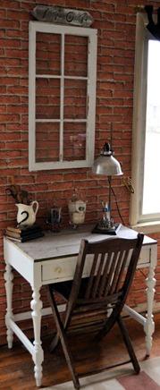 white desk reclaimed wood