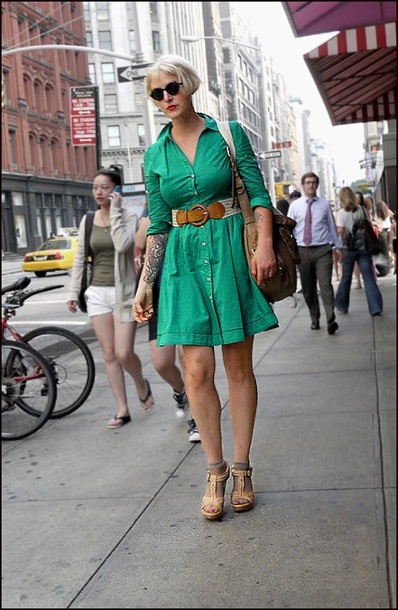 w green short dress platinum hair inked arms ol