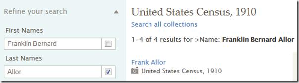 名称旁边的框打开精确的搜索