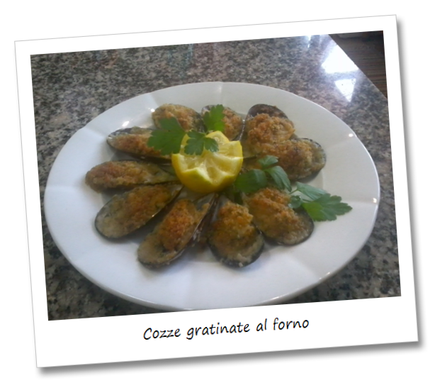 Immagine del piatto cozze gratinate al forno