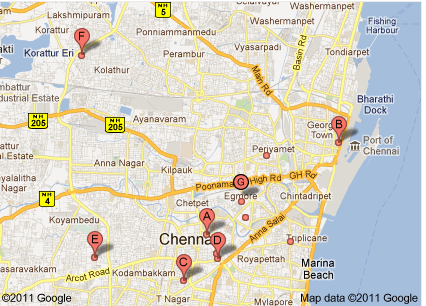 Chennai stock exchange map from Google