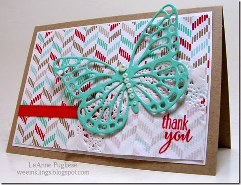 LeAnne Pugliese WeeInklings Butterfly Thank You Stampin Up