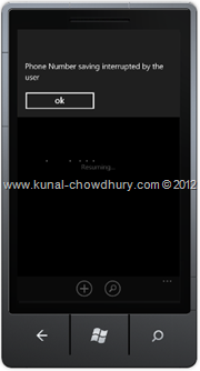 Screenshot 8 : How to Save Phone Number in WP7 using the SavePhoneNumberTask?