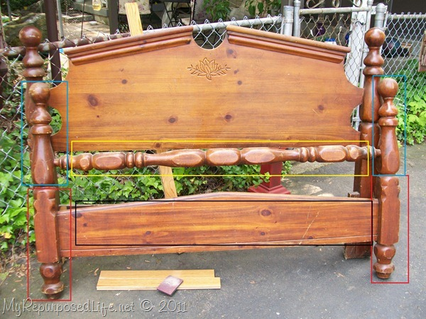 bed parts to make a headboard bench