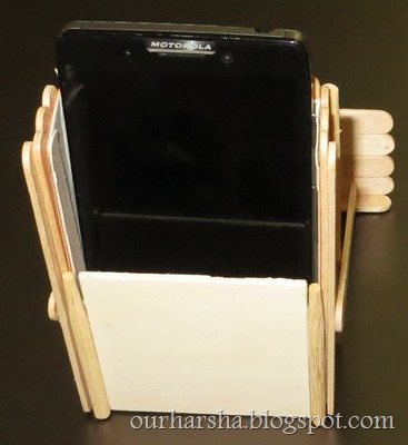 My Hobbies Popsicle Sticks Mobile Phone Stand And Card Holder
