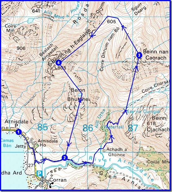 Tuesday's route - 15km, 1000m ascent, 5 hours