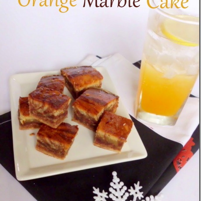 Eggless Orange Marble Cake