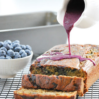 Whole Wheat Blueberry Swirl Banana Bread with Blueberry Glaze