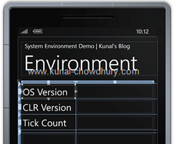 System.Environment Information in Windows Phone 7 - Design