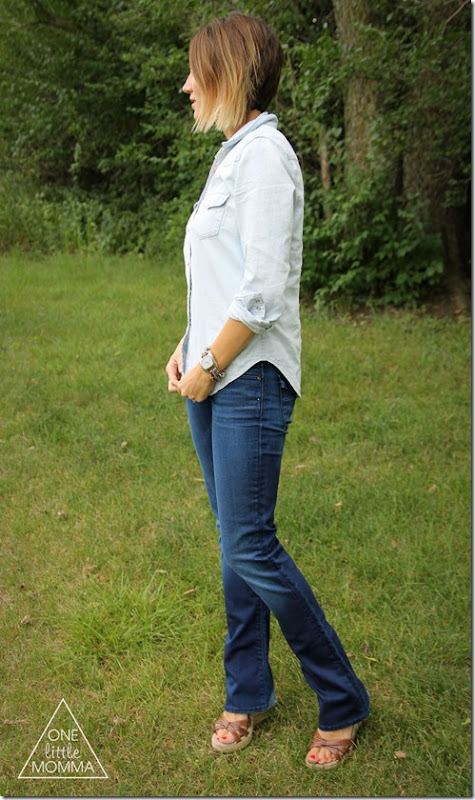 Wearing denim with denim is easy! Try this basic formula from ONE little MOMMA