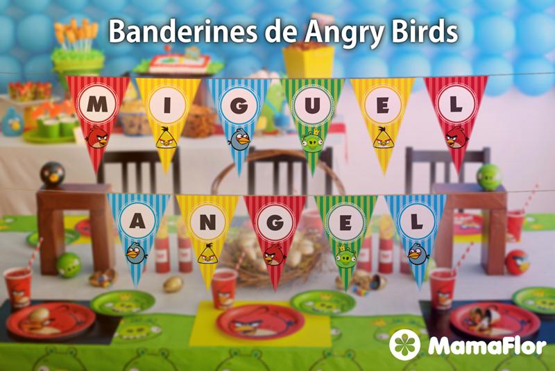 Banderines de Angry Birds para imprimir