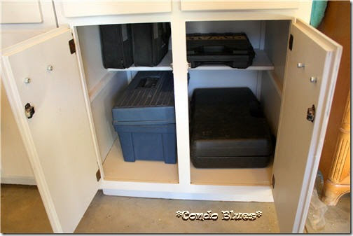 recycled tool storage bench