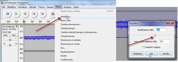 how to change the volume of audio in audacity