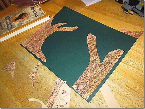 Tree shapes for mixed media fall art project