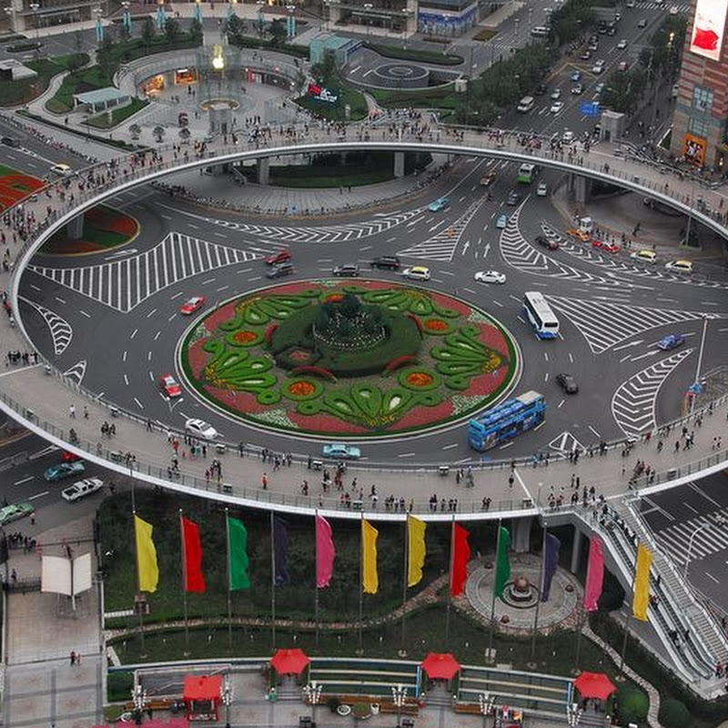 Circular Pedestrian Bridge in Lujiazui, China