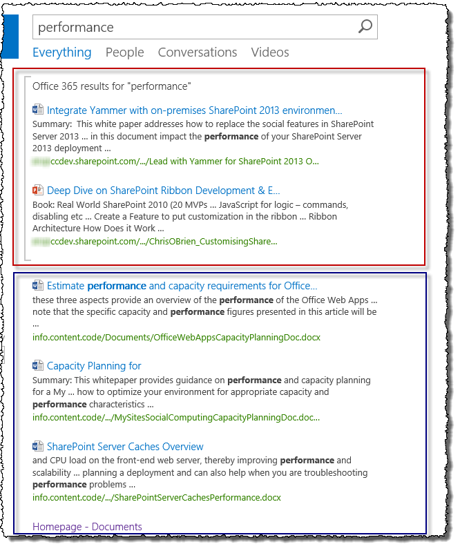 SharePoint hybrid search results - result block
