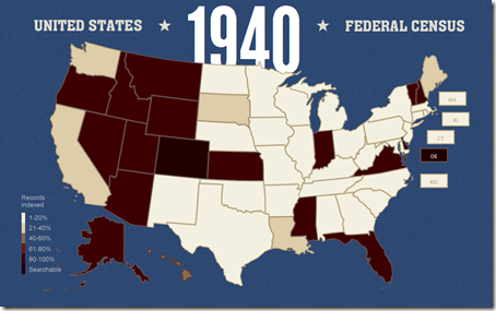 Familysearch索引1940年度人口普查进度截至2012年4月28日