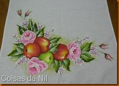pintura em tecido maças e rosas