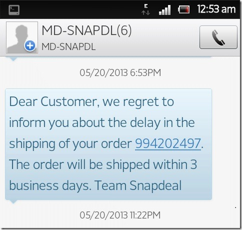 Snapdeal SMS