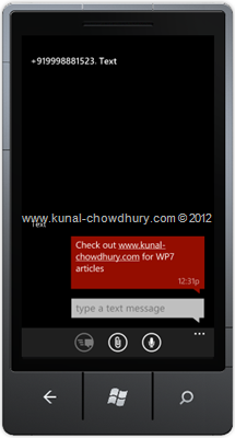 Screenshot 3: How to Compose SMS in WP7 using the SmsComposeTask?