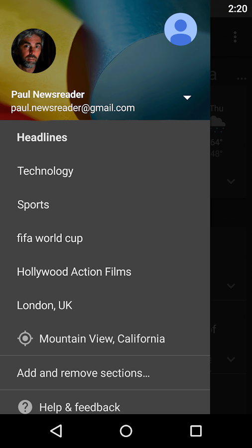 Google News & Weather - screenshot