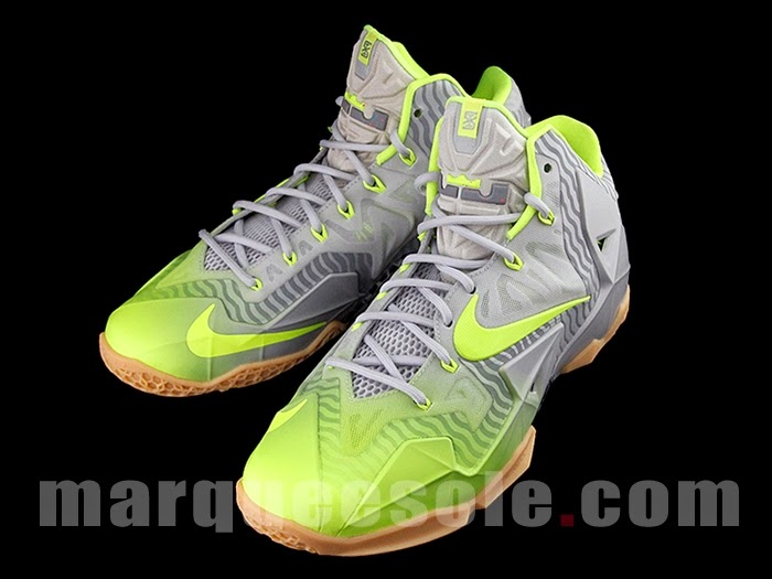 ... Nike LeBron 11 in Volt and Grey with Gum Stripes and 3M ... f4a856b4d