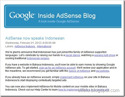 Screenshot Google Inside Adsense Blog