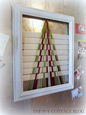 framed ribbon Christmas tree
