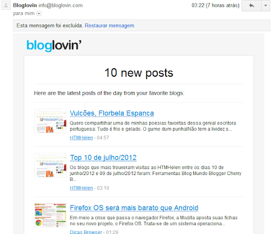 Exemplo de newsletter do Bloglovin