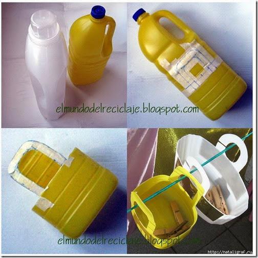 Pequeños cestos para guardar cosas hechos con botellas de plástico recicladas
