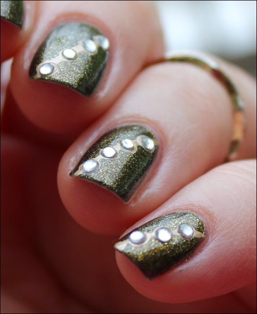 Autumn Nail Art Herbst Nageldesign Gold Bling 04