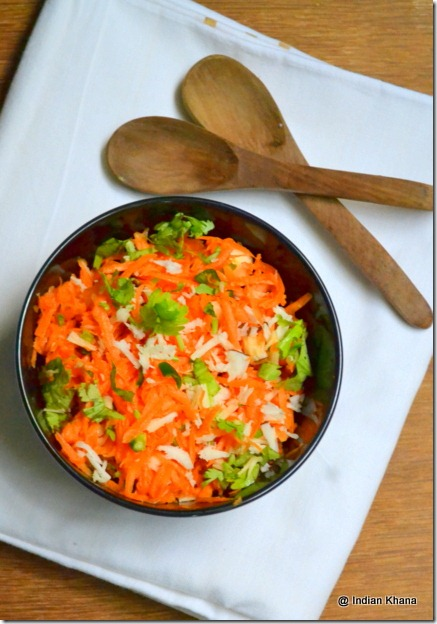 easy carrot coconut kothambari salad recipe