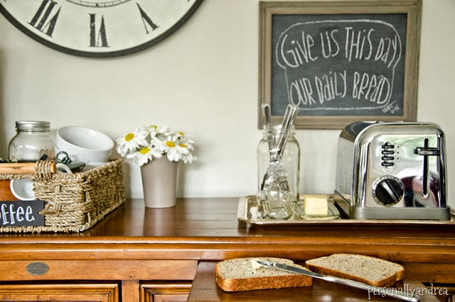 Organized Kitchen | toast station on a vintage tray, chalkboard art, coffee accessories in a basket | personallyandrea.com