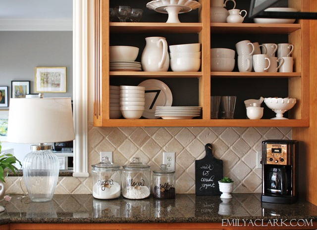 open shelving in the kitchen by removing cabinet doors