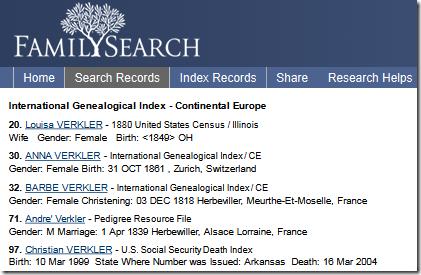 Class FamilySearch列出了句子格式的搜索结果