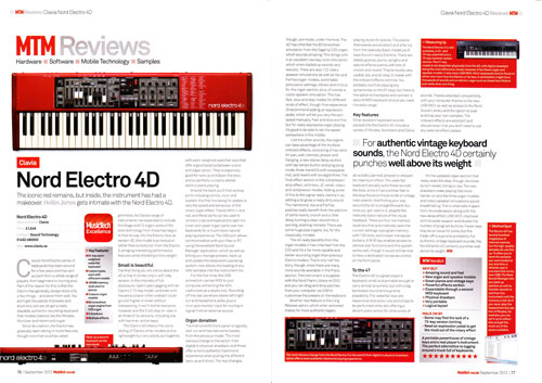 Nord | Electro 4D | MusicTech magazine review