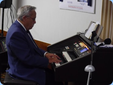 Our Special Guest Artist, Ron Clark, playing the Club's Technics GA3 organ. Ron chose themes for each of his segments which was most enjoyable.