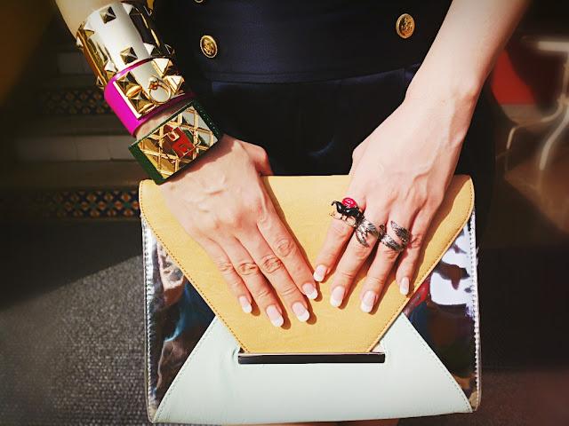 Accesssorize Moustache Face Rings, H&M Leaf Ring,Hermes Bracelt Cuffs,Forever21 Gold Cuff Bracelet, Aldo Envelope Clutch