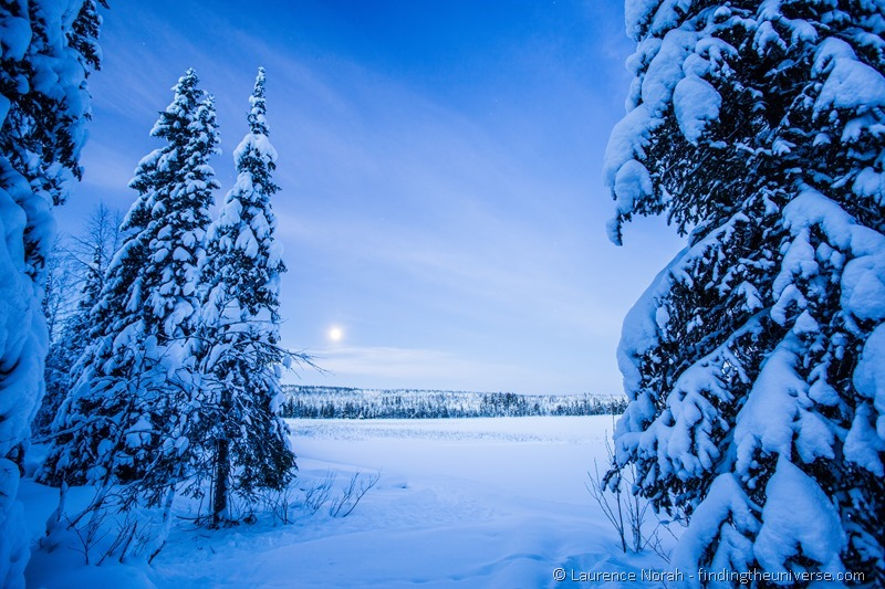 early morning blue hour lapland finland
