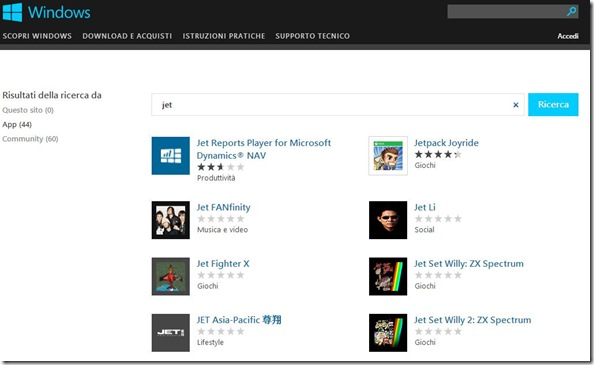 Accedere al Windows Store dal browser