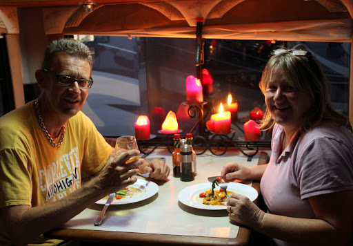 Phil and Tracey with a candle light dinner