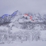 赤線が今回のトレース 青線はアラチ沢右稜 テッペンは1364ピーク