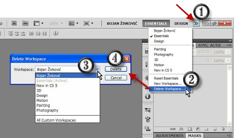 How to delete workspace in Adobe Photoshop