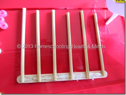 step 2 for making your own abacus @Homeschooling Hearts & Minds
