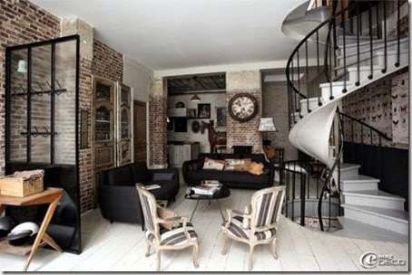 Contemporary-living-room-design-with-interesting-spiral-stairs-with-baluster-and-white-ceramic-floor-and-brick-wall-design-and-black-sofa-and-black-table