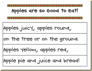 Apples are so good to eat pocket chart strips