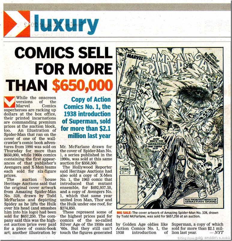 Deccan Chronicle Chennai Edition Supplement Chennai Chronicle Page No 27 Comics Sales Article